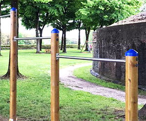 Nuovi attrezzi per allenarsi sulle mura, <br>a cura del Lions Club Lucca Le Mura